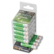 Techly Multipack 24 Batterie High Power Mini Stilo AAA Alcaline LR03 1,5V