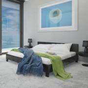 vidaXL Легло с матрак, 140 x 200 cм, изкуствена кожа, черно