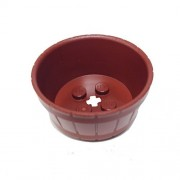 Lego Parts: Container, Barrel Half Large With Axle Hole (Reddish Brown)