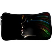 Snoogg Hollywood Girl With Rainbow Hair Poly Canvas Student Pen Pencil Case Coin Purse Utility Pouch Cosmetic Makeup Bag