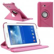 Bolsa rotativa em pele para Samsung Galaxy Tab 3 Lite 7.0 - Cor-de-rosa forte