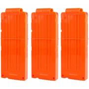 3pcs Clips De Bala Suaves 12 Balas Para Nerf N-strike Pistola Juguete - Naranja