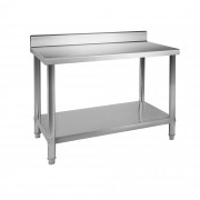Stainless Steel Table - 100 x 70 cm - Upstand - 120 kg load capacity