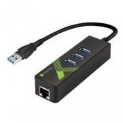 Techly Adattatore Convertitore USB3.0 Ethernet Gigabit con Hub 3 porte