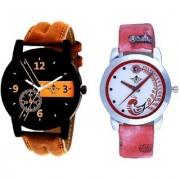 Brown Cronograph Design And Red Peacock Feathers Girls Analogue Watch By Ganesha Exim