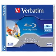 BD-R VERBATIM DUAL LAYER 50GB 6X WIDE PRINTABLE JEWEL CASE 43736