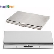 Stealodeal Aluminum Silver Pocket Business Atm Case Metal Box With Steel 6 Card Holder(Set of 2, Silver)
