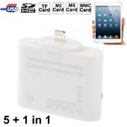 5 + 1 in 1 Lightning Adapter Camera Connection Kit Card Reader for iPad 4 / iPad mini