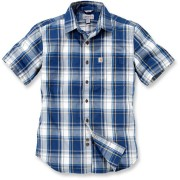 Carhartt Slim Fit Plaid Camisa de manga corta Azul/Blanco S