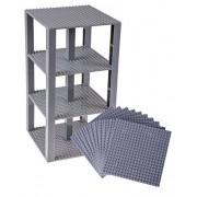 Premium Gray Stackable Base Plates - 10 Pack 6 x 6 Baseplate Bundle with 80 Gray Bonus Building Bricks (LEGO Compatible) - Tower Construction