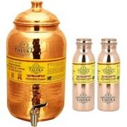 Taluka Pure Copper Handmade Water Pot Tank Matka Dispenser 2000 ML Capacity with Set 2 Copper Bottle Water Bottle Joint free - Leak Proof Bottle 1000 ML Each For Kitchen Good Health Benefit
