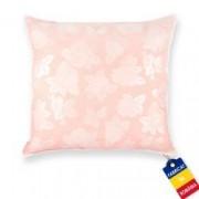 Perna Pernador cu puf si pana de gasca 40x40 cm roz cu trandafiri