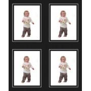 3.5x2.5 / 2.5x3.5 Mono Black Strut Photo Mounts with White Line (4on)