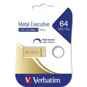 Pendrive, 64GB, USB 3.0, VERBATIM Exclusive Metal arany (UV64GEM32)