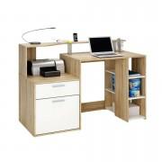 Demeyere bureau Oracle - eikenkleur/wit - 55,1x139,8x91 cm - Leen Bakker