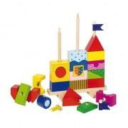 puzzle din lemn pe stick-uri - Castelul, un set de tampoane (Goki-58915)
