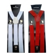 AK SCIENTIFIC Y- Back Suspenders for Men, Boys, Girls, Women(White, Red)