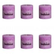 Bolsius Rustikální válcová svíčka 6 ks 100x100 mm fialová