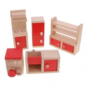 MagiDeal Set of 5 Pieces Red Dollhouse Miniature Kitchen Furniture Set Kid Pretend Play Toy