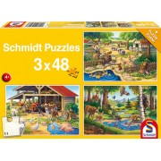Puzzle 3 in 1- Animalele mele preferate, 144 piese