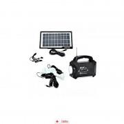 Sistem Iluminare LED cu Incarcare Solara, 3 Becuri LED si Lampa Portabila cu FM si MP3 player GD-8056 + Lanterna 9LED