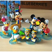 6pcs Mickey Mouse Toys Clubhouse Minnie Donald Duck Goofy Daisy Cartoon Figures Doll Minifigure