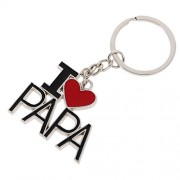 Segolike Key Chain Ring I Love Papa Pendant Collectable Novelty Children Black Red