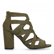 Sacha Donkergroene sandalen met hak