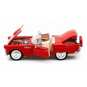 1956 Ford Thunderbird Convertible, Red - Motormax 73215 - 1/24 scale Diecast Model Toy Car