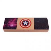 Saamarth Impex Peach Color Captain America Logo Printed Single Step Pen/Pencil Box SI-4123