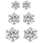 Mahi Rhodium Plated Combo of 3 Exclusive Solitaire Stud earrings with Cubic Zirconia Stone (high quality) CO1104663R