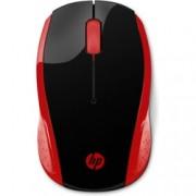Мишка HP 200, оптична (1000 dpi), безжична, USB, черна/червена