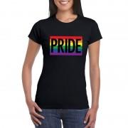 Bellatio Decorations Regenboog vlag Pride shirt zwart dames