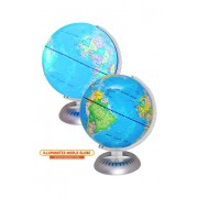 Illuminated World Globe Lights by KinderBerries 8 Globe of The World with Stand Night Lights for Kids - Built-in LED Light Earth Globe with Easy to R