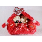 Valentines Special Beautiful Plush Red Love Hut with Couple Teddy Bears