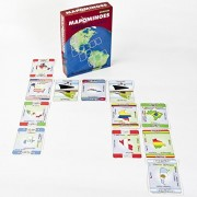 MAPOMINOES NORTH AND SOUTH AMERICA Fun and educational geography card game about connecting North and Latin American countries. For kids teens and adults. Like dominoes with maps.