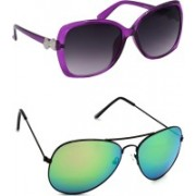 Hrinkar Over-sized Sunglasses(Grey, Green)