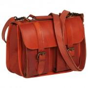 vidaXL Satchel Bag Real Leather Tan