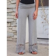 High Rise Wide Leg Pants With Lace