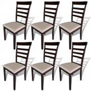vidaXL Трапезни столове 6 бр кафяво и кремаво масивно дърво и текстил