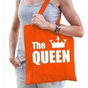 The queen katoenen tas oranje met witte tekst en witte kroon - Koningsdag - tasje / shopper voor dames