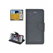 Textura Cruz Vuelta Horizontal Cubierta De Ecocuero Con Tarjetas De Crédito Ranuras Para IPhone 6 Y 6S ( Negro )