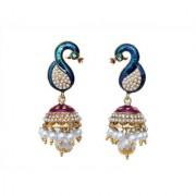 Indian Style Beaded Dangle Drop Fashionable Earrings Traditional Jhumka Jhumki Earrings for Women 20 Purple