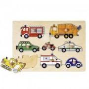 Дървен пъзел с дръжки Превозни средства Goki, 871097