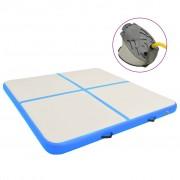 vidaXL Надуваем дюшек за гимнастика с помпа, 200x200x10 см, PVC, син