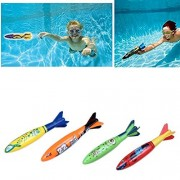 Edealing 4PCS Underwater Toypedo Rocket Swimming Pool Toy Swim Dive Sticks Holiday Games