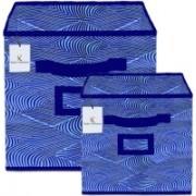 Billion Designer Laheriya Design Non Woven 2 Pieces Small & Large Foldable Storage Organiser Cubes/Boxes (Blue) - BILLION36115 BILLION036115(Blue)