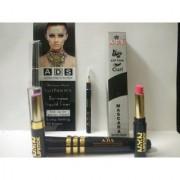 ADS Black Eyeliner ADS Mascara ADS Eyelash Curler Two NYN Lipstick (Set of 1)