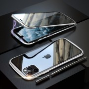 LUPHIE Metal Frame Magnetic Closure Tempered Glass Phone Case for Apple iPhone 11 Pro Max 6.5 inch - Silver