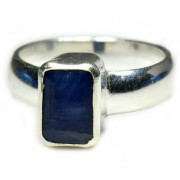 YogiGems 3.25 Ratti Certified Natural Blue Sapphire Neelam Square Shape Sterling Silver Simple Ring